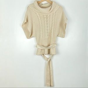 BEBE cowl neck sweater Medium off white belt o908